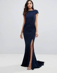 Платье макси с высокой горловиной и разрезом сбоку Jovani - Темно-синий