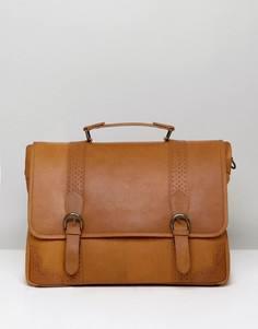 Светло-коричневая кожаная сумка сэтчел с перфорацией ASOS - Рыжий