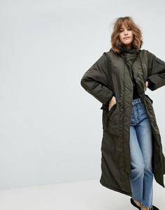 Удлиненная дутая куртка Monki - Зеленый