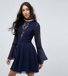 Платье мини с расклешенными рукавами ASOS TALL - Серый