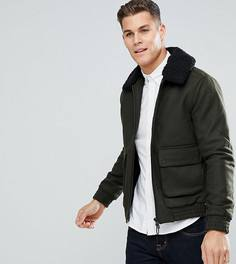 Шерстяная куртка с воротником из искусственного меха Only & Sons - Черный