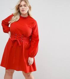 Платье в стиле casual с корсетной отделкой ASOS CURVE - Красный
