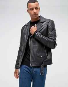 Кожаная байкерская куртка Barneys Originals - Черный