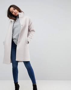 Оверсайз-пальто с высоким воротником ASOS - Кремовый