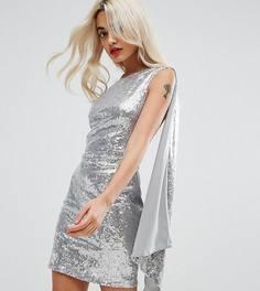 Платье мини на одно плечо с пайетками City Goddess Petite - Серебряный