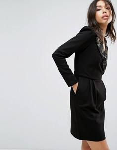 Платье с декорированным воротником в стиле 80-х Bolongaro Trevor - Черный