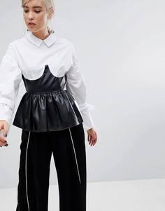 Рубашка с завязками на рукавах и корсетом-баской из искусственной кожи Lost Ink - Белый