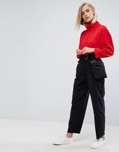Черные брюки галифе с сумкой-кошельком на пояс ASOS - Черный