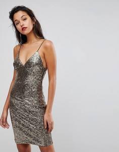 Платье на бретельках с пайетками Club L - Золотой