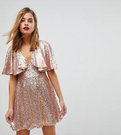 Кружевное платье мини с рукавами клеш и пайетками ASOS PETITE - Розовый