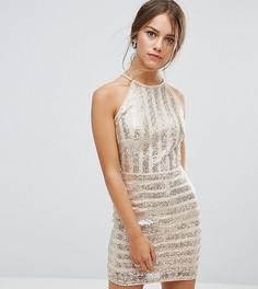Платье мини в полоску с пайетками и высоким воротом TFNC Petite - Золотой