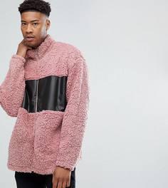 Свободная спортивная куртка из искусственной цигейки ASOS TALL - Розовый