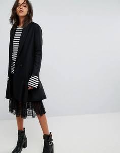 Пальто с асимметричной баской AllSaints - Черный