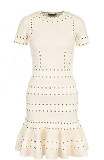 Приталенное мини-платье с коротким рукавом Alexander McQueen