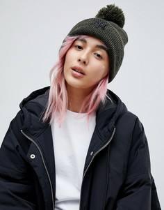 Меланжевая шапка-бини цвета хаки с помпоном New Era - Серый