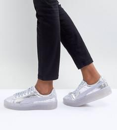 Серебристые кроссовки на платформе Puma - Серебряный
