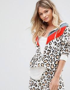 Спортивный худи на молнии с леопардовым принтом Wildfox - Белый