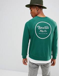 Свитшот с принтом на спине Brixton Wheeler - Зеленый