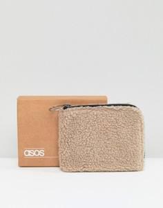 Бумажник из искусственного меха кремового цвета на молнии ASOS - Кремовый