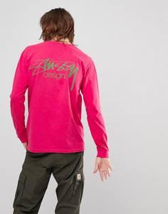 Розовый лонгслив с логотипом Stussy - Розовый