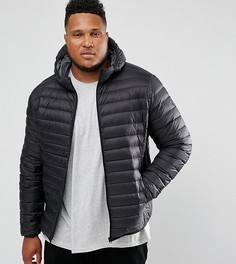 Черная дутая куртка узкого кроя с капюшоном Schott PLUS Silverado - Черный