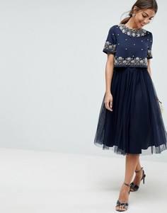 Платье миди из тюля с декоративной отделкой и укороченным топом ASOS - Темно-синий