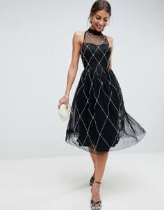 229090880dd9 Платье миди для выпускного с высоким воротом и искусственным жемчугом ASOS  PREMIUM - Черный