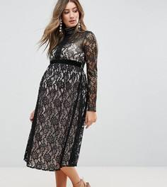 Ажурное платье миди Little Mistress Maternity - Черный