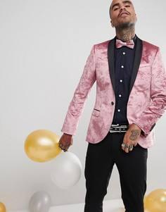 Бархатный приталенный блейзер Noose & Monkey - Розовый