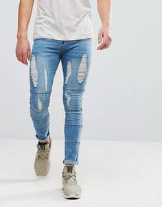 Светлые джинсы скинни с прорехами и вставками boohooMAN - Синий