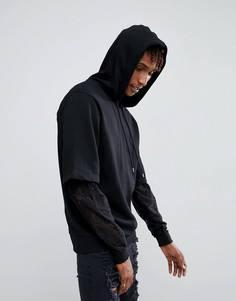 Оверсайз-худи с двухслойными рукавами и кружевом ASOS - Черный