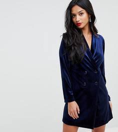 Бархатное платье в стиле смокинга John Zack Petite - Темно-синий