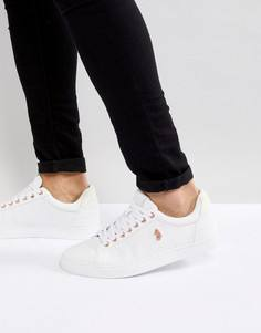 Белые стеганые кожаные кроссовки Luke Sport Haskell - Белый