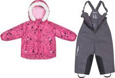 Комплект для девочки куртка и полукомбинезон Barkito, верх - розовый с рисунком «лисички», низ -серый