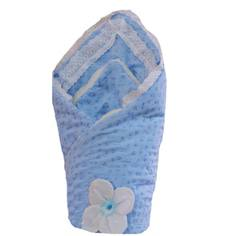 Одеяло меховое на выписку Арго из шитья голубое Argo