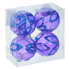 Украшение СИМА-ЛЕНД Набор шаров Фиолетовая дымка 4шт Цветок 1009385
