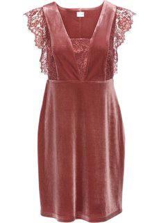 Бархатное платье с кружевом (кирпично-красный) Bonprix