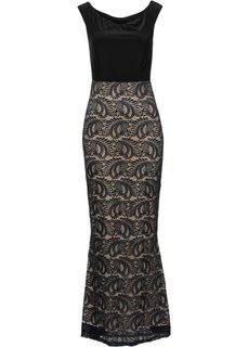 Платье вечернее с кружевом (черный/бежевый с рисунком) Bonprix