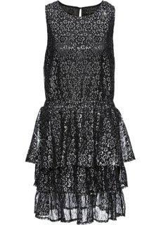 Платье с украшенным люрексом кружевом (черный/серебристый) Bonprix