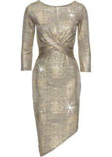 Платье с металлическим отливом (золотистый) Bonprix
