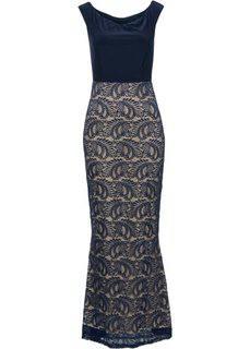 Платье вечернее с кружевом (темно-синий) Bonprix