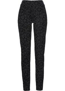 Трикотажные брюки с бархатным принтом (черный) Bonprix