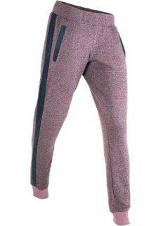 Трикотажные брюки с деталями из искусственной кожи (бузиничный меланж) Bonprix