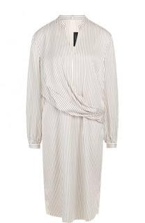 Шелковое платье-миди в полоску St. John
