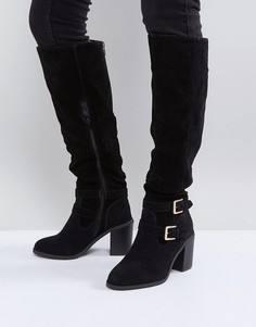 Ботфорты на каблуке с пряжками Miss KG - Черный