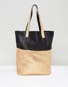 Кожаная сумка для покупок золотистого цвета Urbancode - Золотой