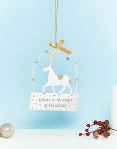 Новогоднее украшение в виде единорога I Believe In Christmas Sass & Belle - Мульти