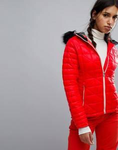 Дутая горнолыжная куртка с искусственным мехом на капюшоне Dare2be Endow - Белый