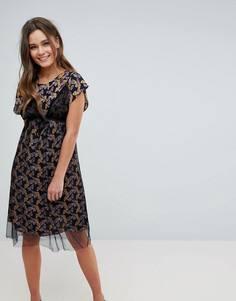 Платье миди с цветочным принтом и сетчатым верхним слоем Hazel - Черный