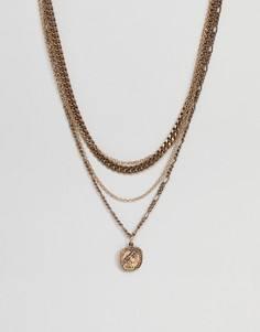 Золотистые ожерелья-цепочки в несколько рядов с подвеской-монеткой ASOS - Золотой